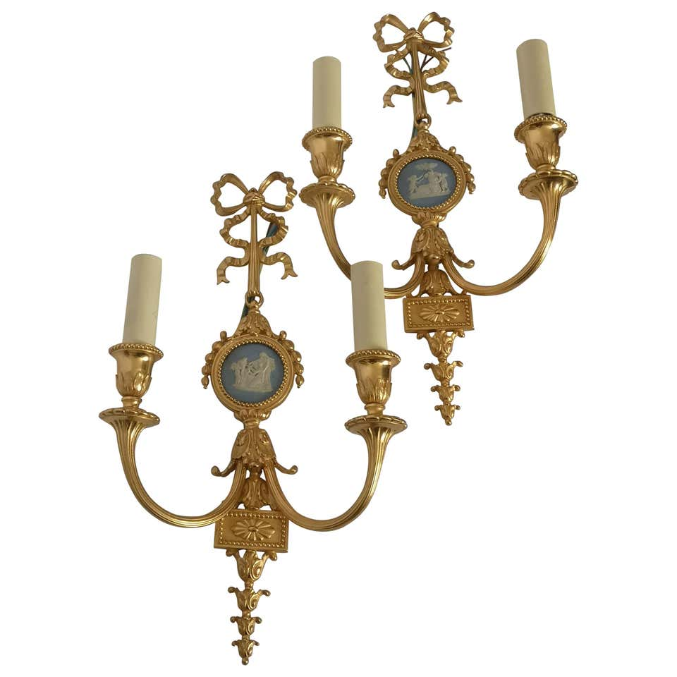 Pair Of Late 19th Century Bronze And Wedgwood Wall Lights