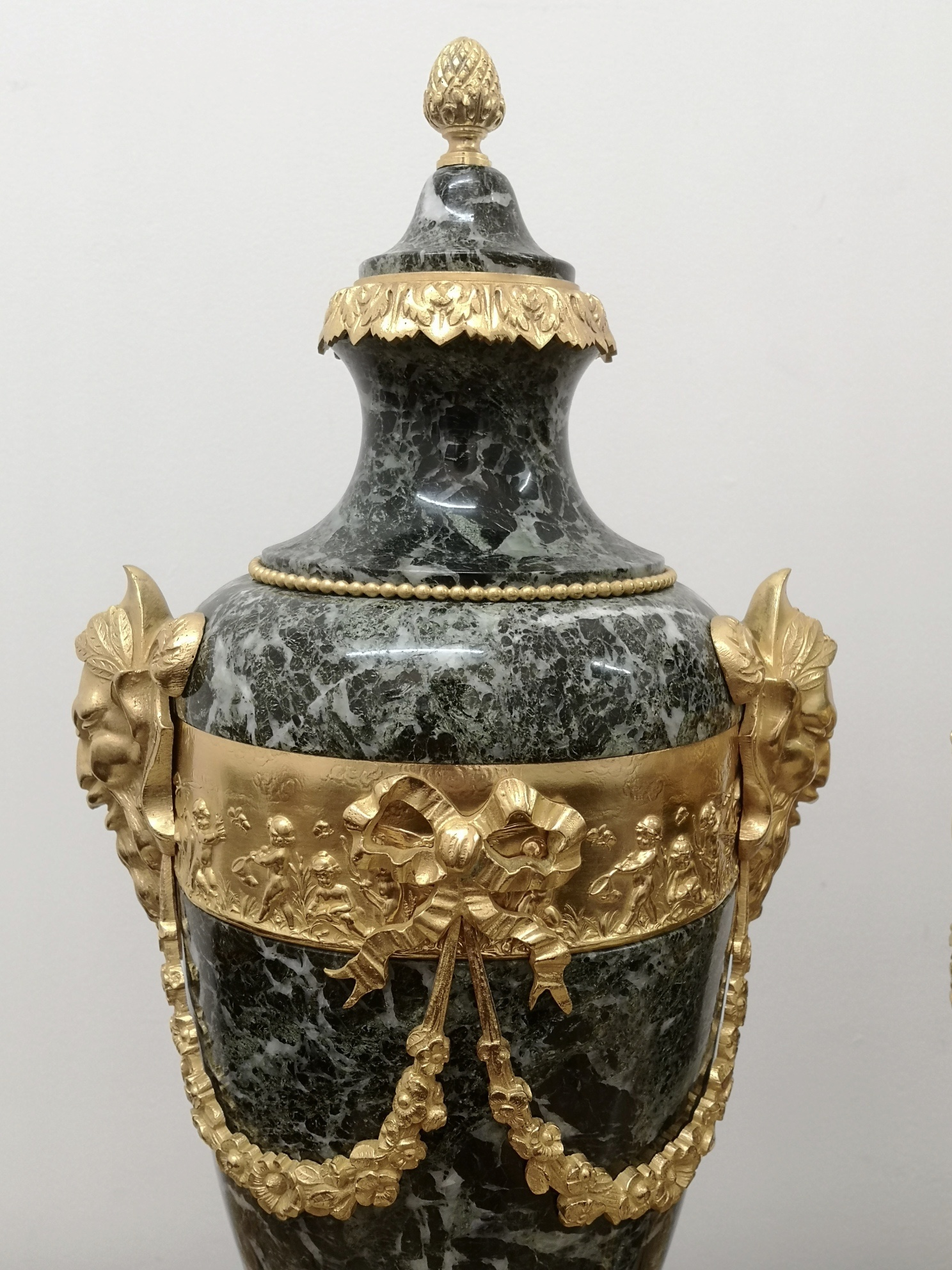Pair Of 19th Century Green Marble And Gilt Bronze Cassolettes