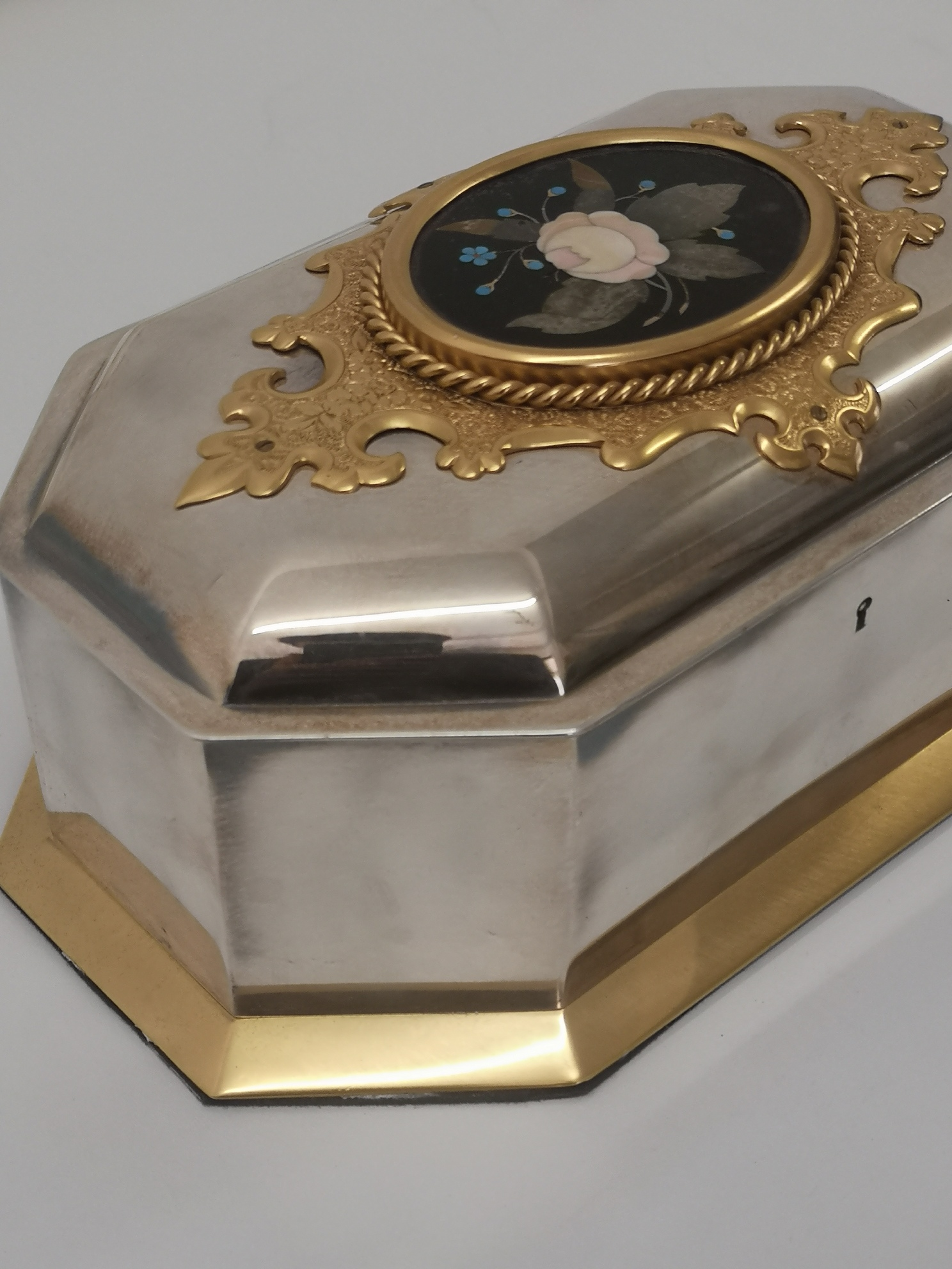 19th Century French Gilt And Silvered Pietra Dura Casket