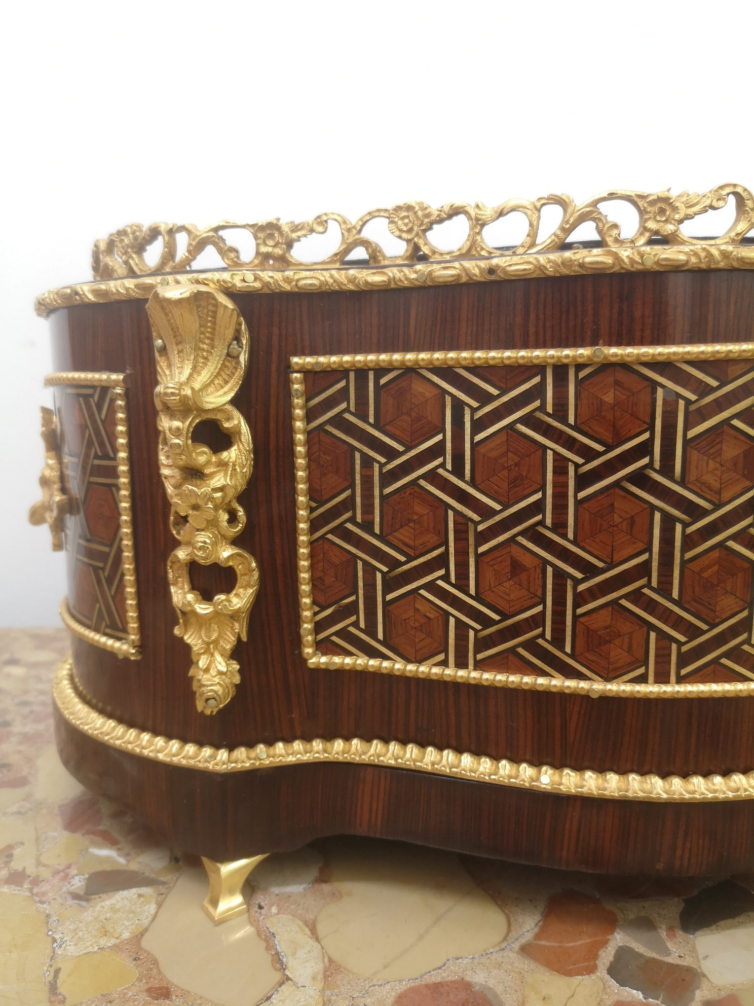 19th Century French Parquetry Jardiniere